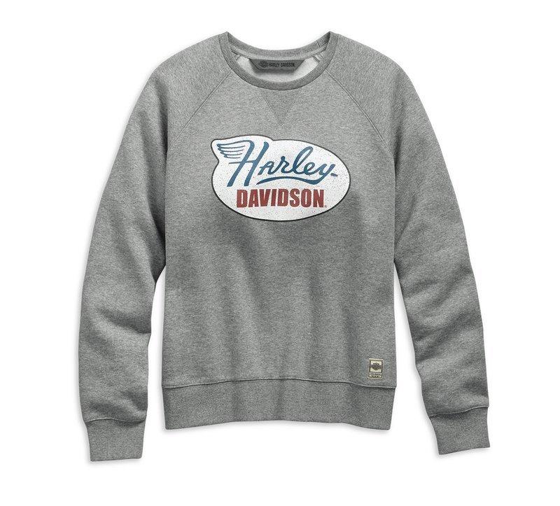 Vintage Distressed Print Pullover Sweatshirt Women