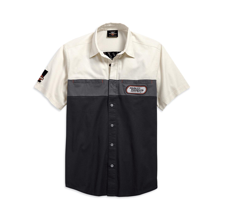 Shirt Men Short Sleeve H-D Racing Color Blocked