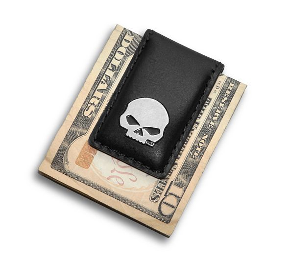 Gadget Money Clip Skull Medaillon Leather