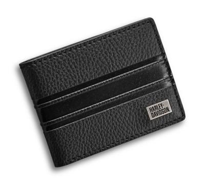 Wallet Men Embossed Stripe Bi-Fold Leather