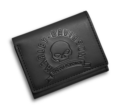 Wallet Men Skull Tri-Fold Leather