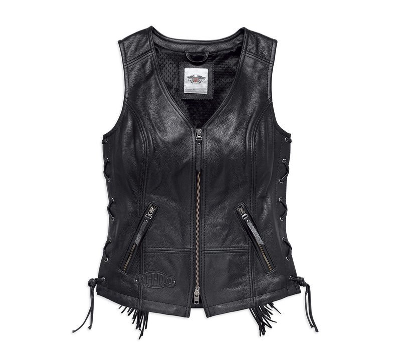 Boone Fringed Leather Motorcycle Vest Women