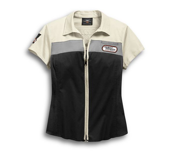 Shirt Women Short Sleeve H-D Racing Zip-Front