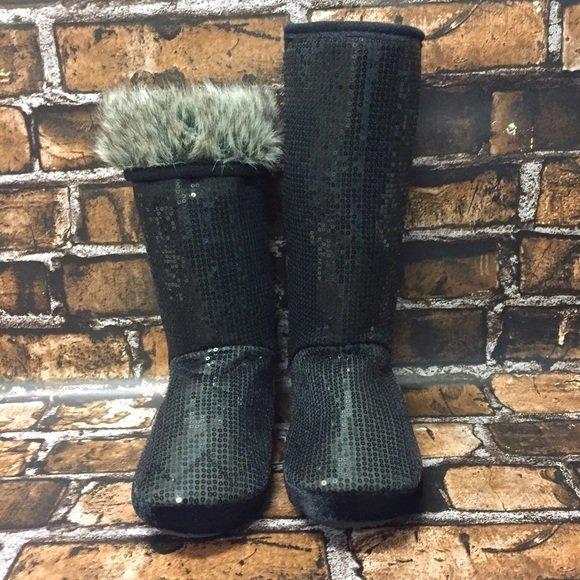 Black Allover Sequin Slipper Boots Women
