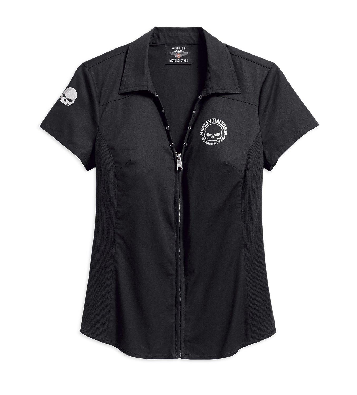 Skull Zip-Front Shirt Women