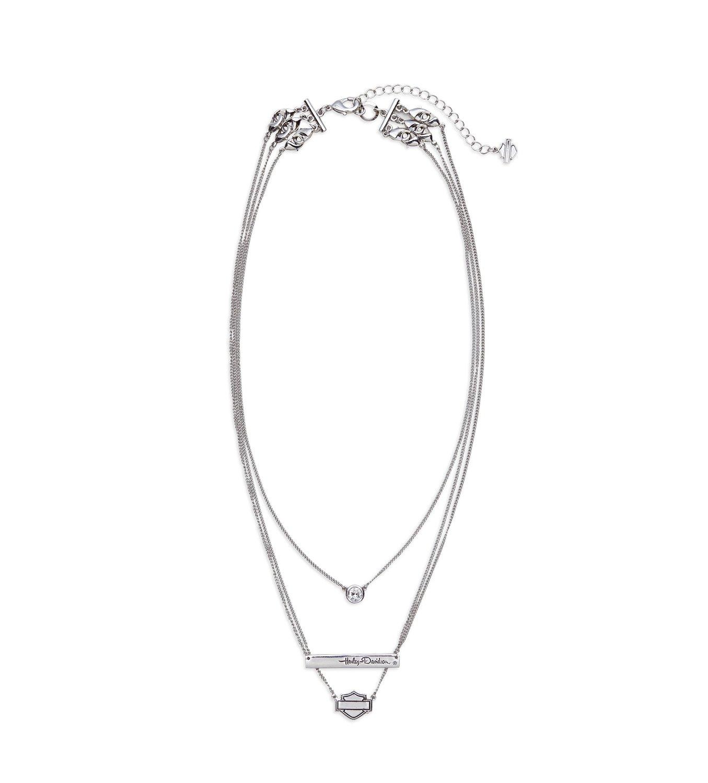 Necklace Women Rhinestone Three Chain
