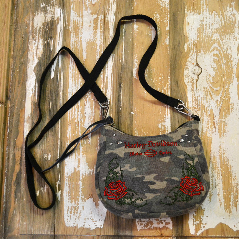 Bag Women Rose Embroidery Camo Saddle Hip