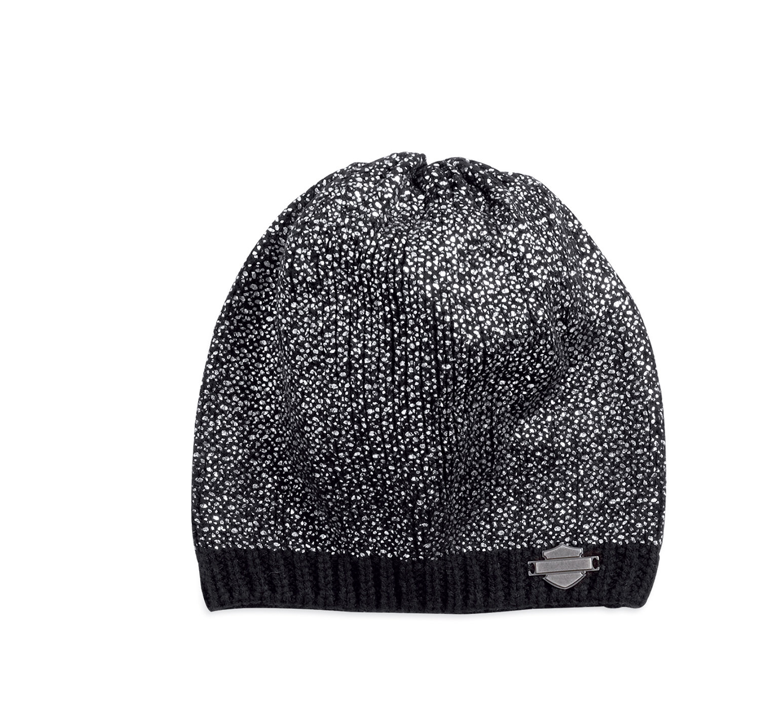 Hat Women Knit Beanie Allover Metallic Foil