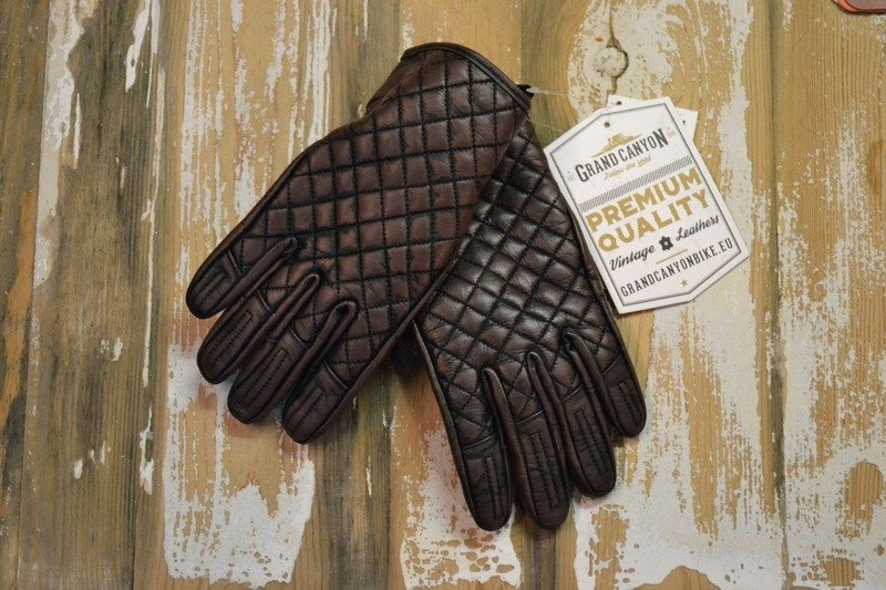 Vintage Quilted Leather Motorcycle Gloves Men