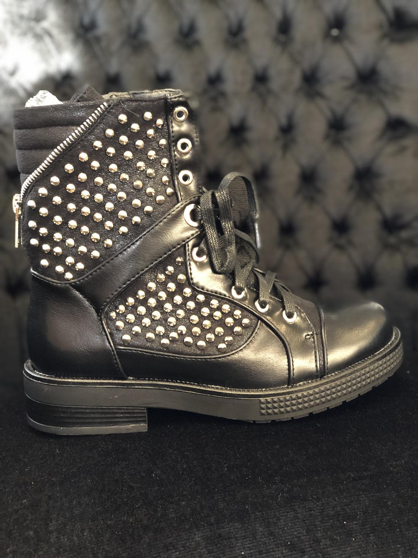 Booties Women Fashion Black Studs