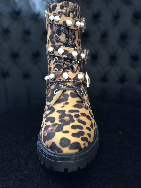 Booties Women Fashion Leopard Boots Pearl Queen
