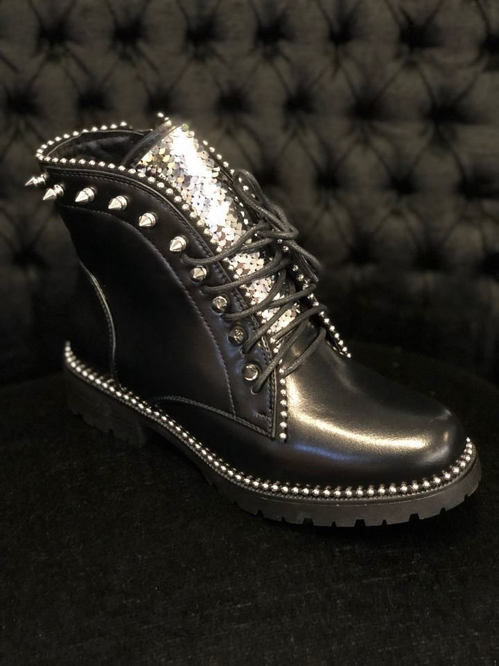 Black Stud Glitter Boots with Zipper Women