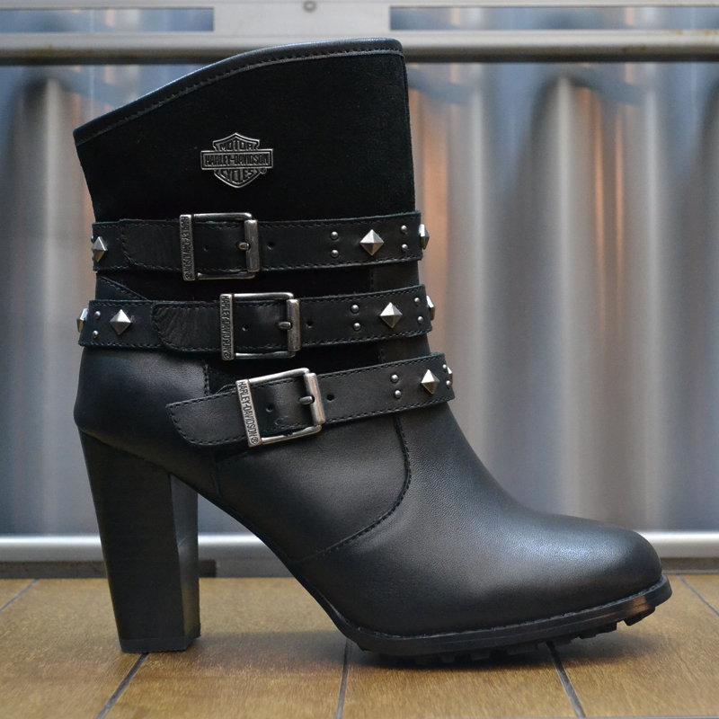 Abbey Black Leather High Heels Women