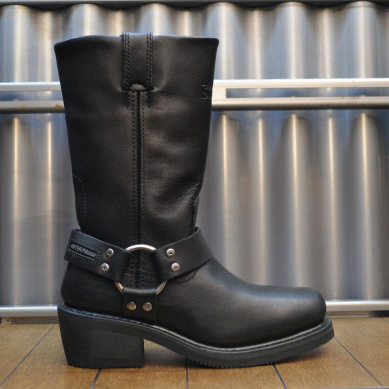 Boots Women Waterproof Zipper Hustin Black Leather