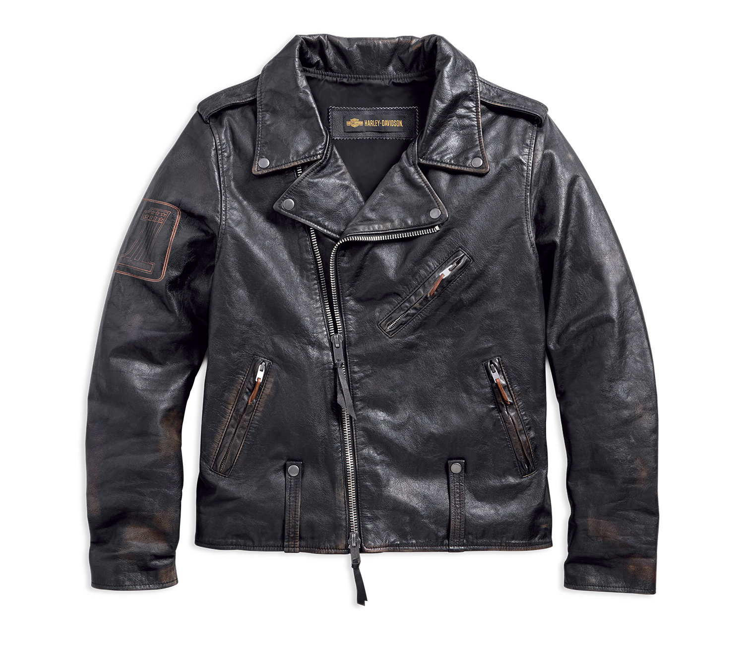 1903 Master Distressed Slim Fit Leather Biker Jacket Men