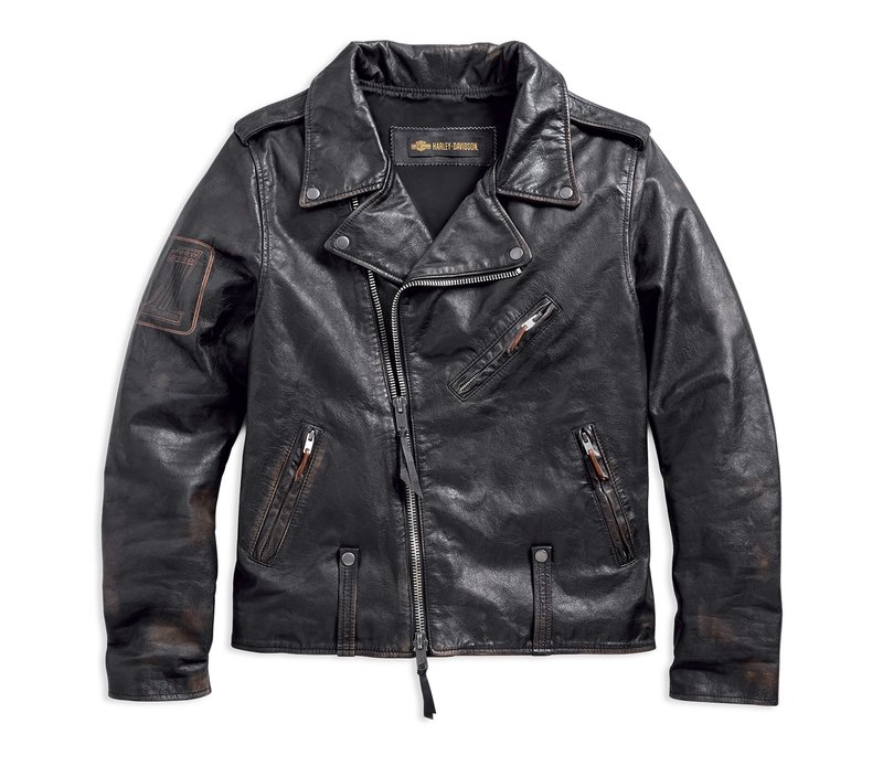 Jacket Men Leather 1903 Master Distressed Slim Fit Biker