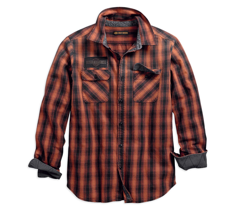 Shirt Men Long Sleeve 1903 Oak Leaf Plaid Slim Fit