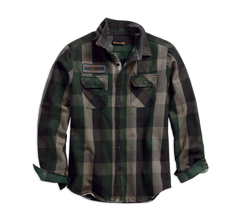 1903 Appliqué Plaid Slim Fit Shirt Men