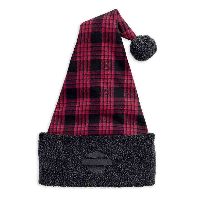 Santa Hat Embroidered Plaid Berber Fleece