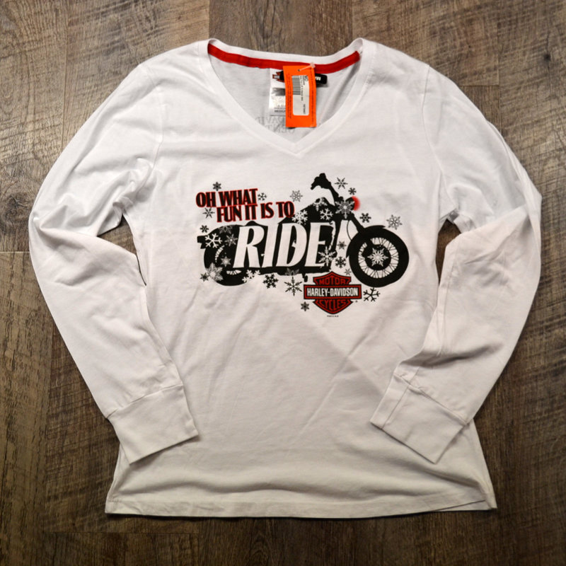 T-Shirt Women Long Sleeve Backprint Oh What Fun it is to Ride Henley
