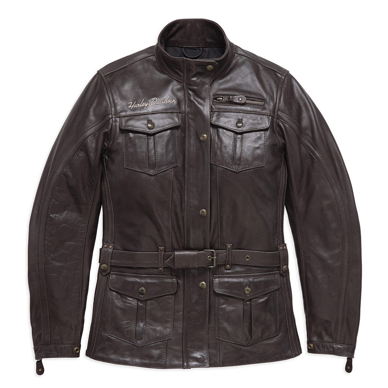 Jacket Women CE-approved Riding Leather Messenger 3/4