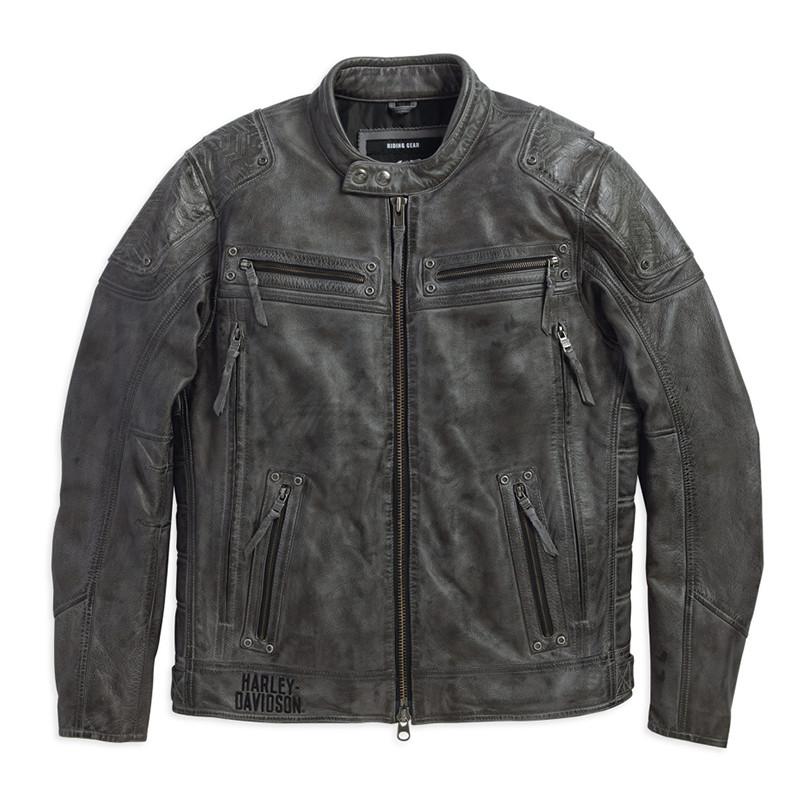 Carboy Leather Riding Jacket Multi Pocket Men