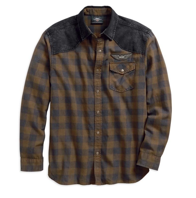 Shirt Men Long Sleeve Denim Accent Plaid