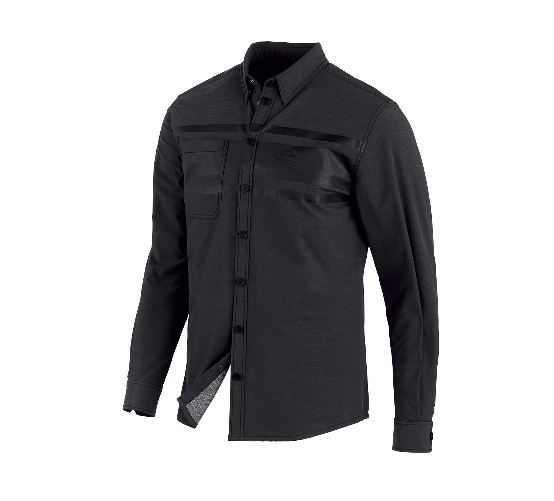 Shirt Men Long Sleeve H-D® Moto Double Weave Stretch Slim Fit