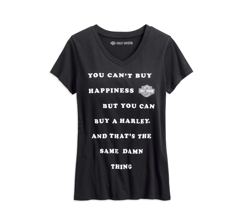 T-Shirt Women Short Sleeve Garage Can't Buy Happiness V-Neck