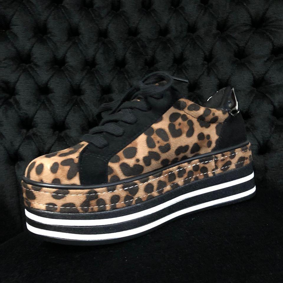 Sneakers Velvet Leopard - Black