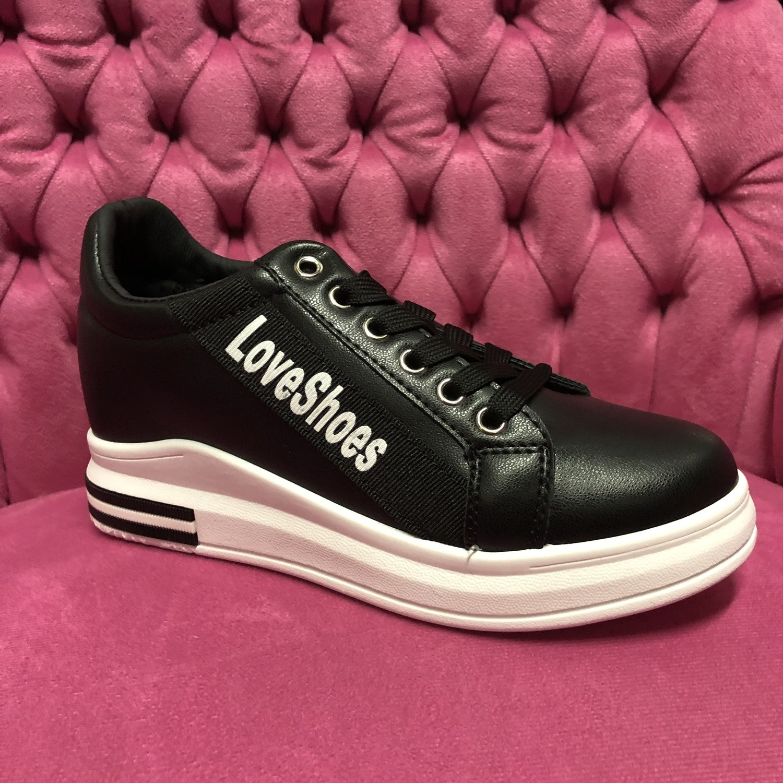 Sneakers Black Love Shoes Women