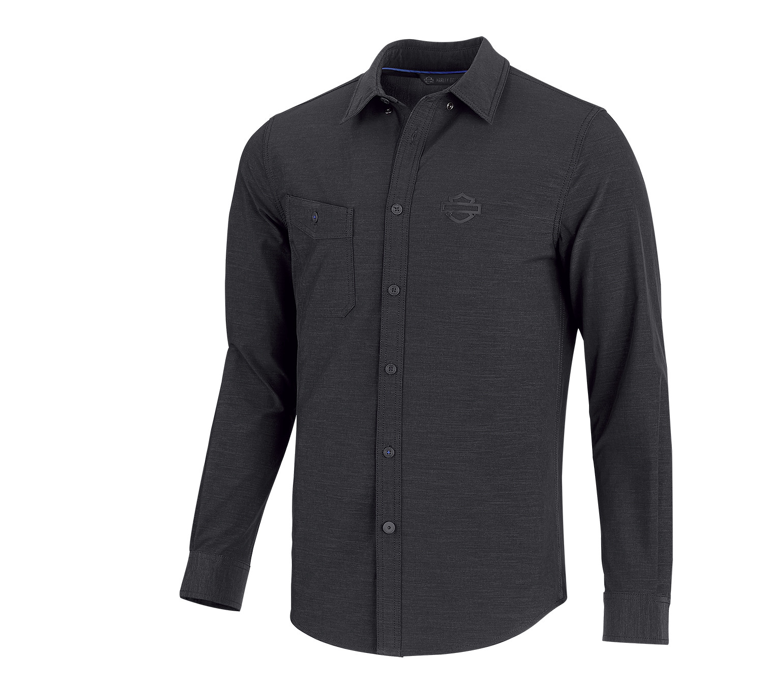 Shirt Men Long Sleeve H-D® Moto Double Weave Stretch Slim Fit