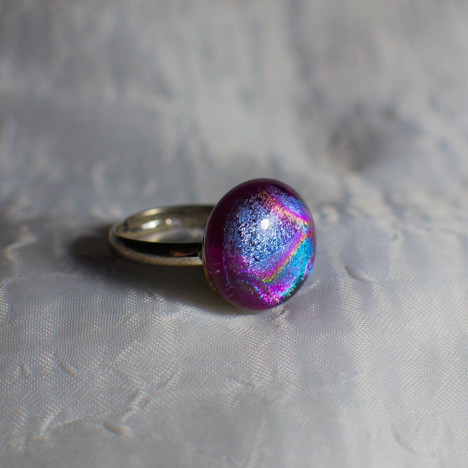 Fused Dichroic Purple and Pink Glass Ring