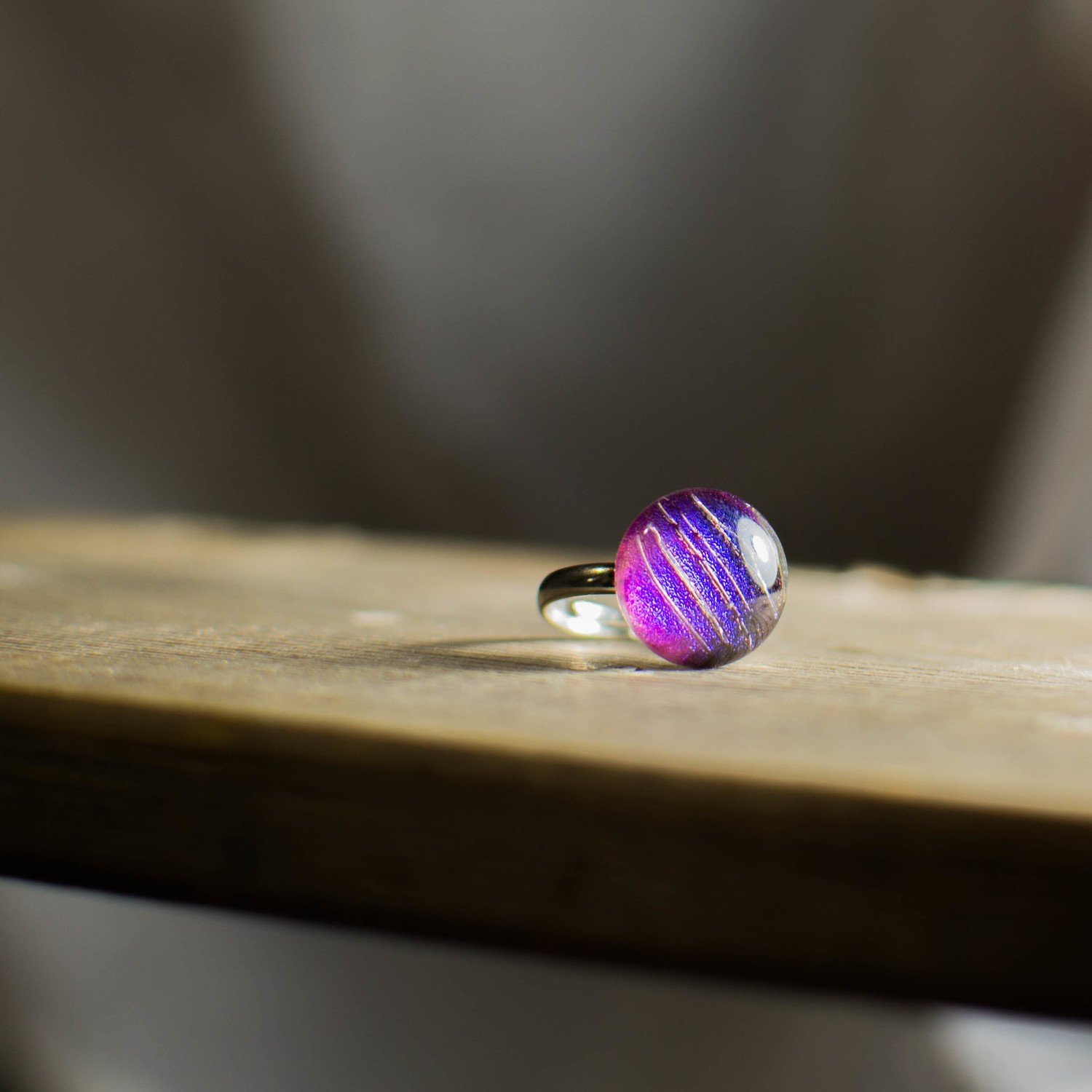 Fused Dichroic Purple Striped Glass Ring