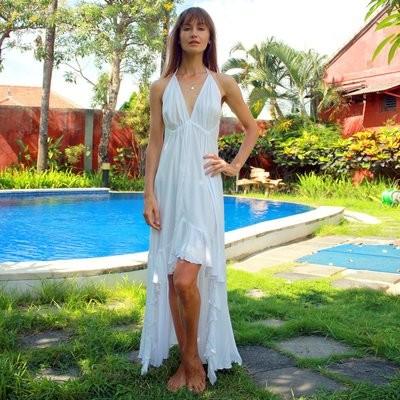 High Low White Dress MK 10033