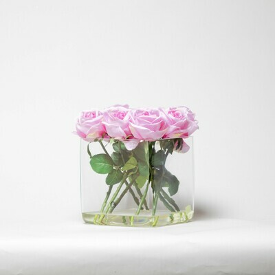 Roses in a 20cm Cube, Pink