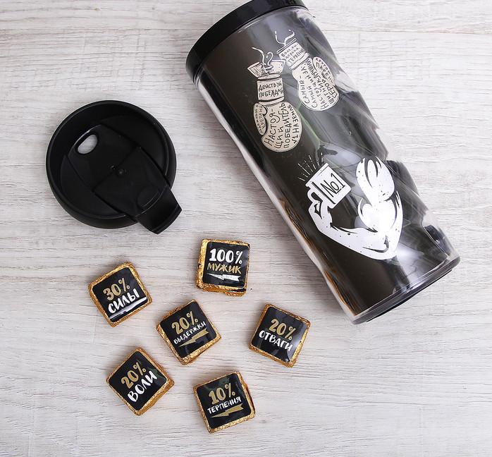 """Набор """"Даже мой чай крепче твоих нервов"""", термостакан 350 мл, чай пуэр 30 г"""