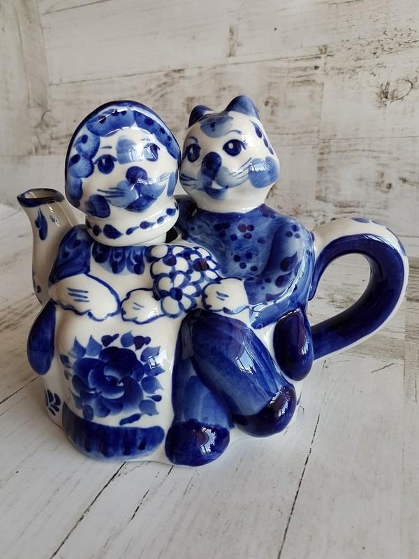 Чайник «Коты на свидании», 400 мл, Гжель