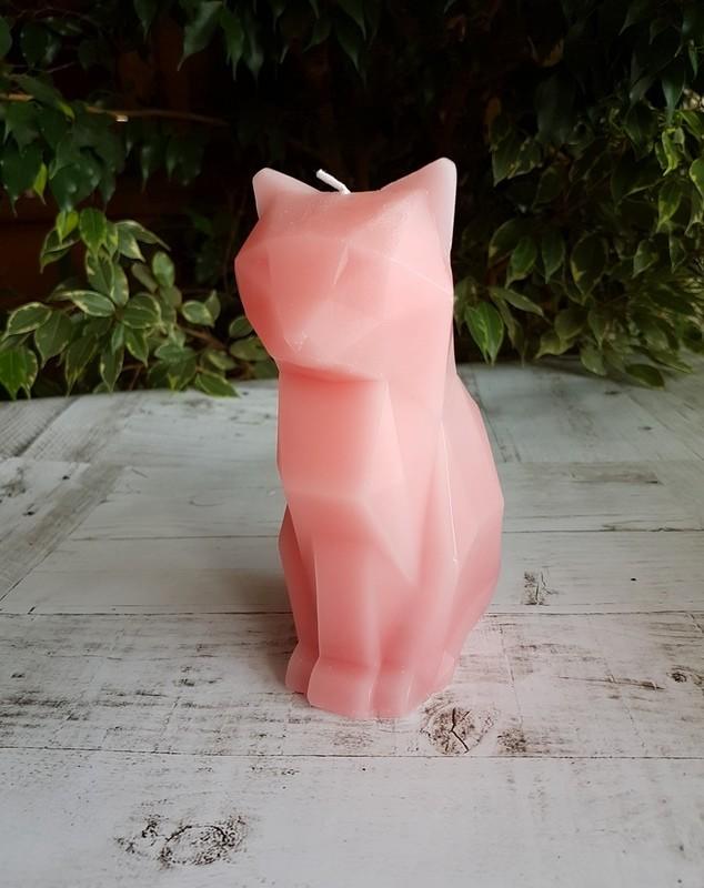 Свеча-скелетик Киса (розовая)