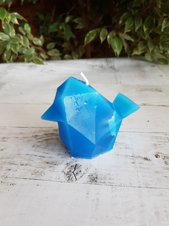 Свеча-скелетик Птица (зелёная, синяя)