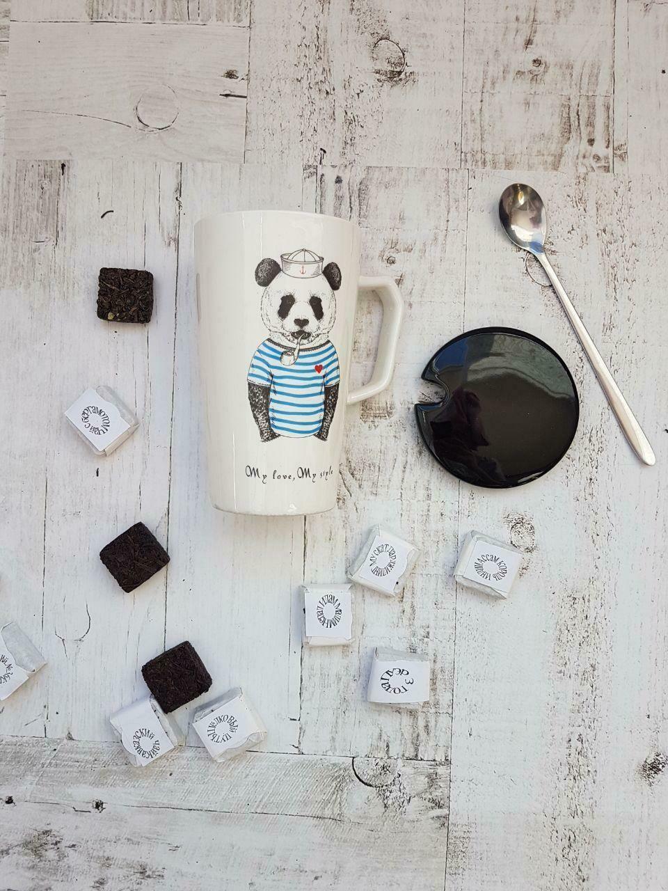 """Кружка """"Знай наших. Панда"""", с керамической крышкой и ложкой, 360 мл"""