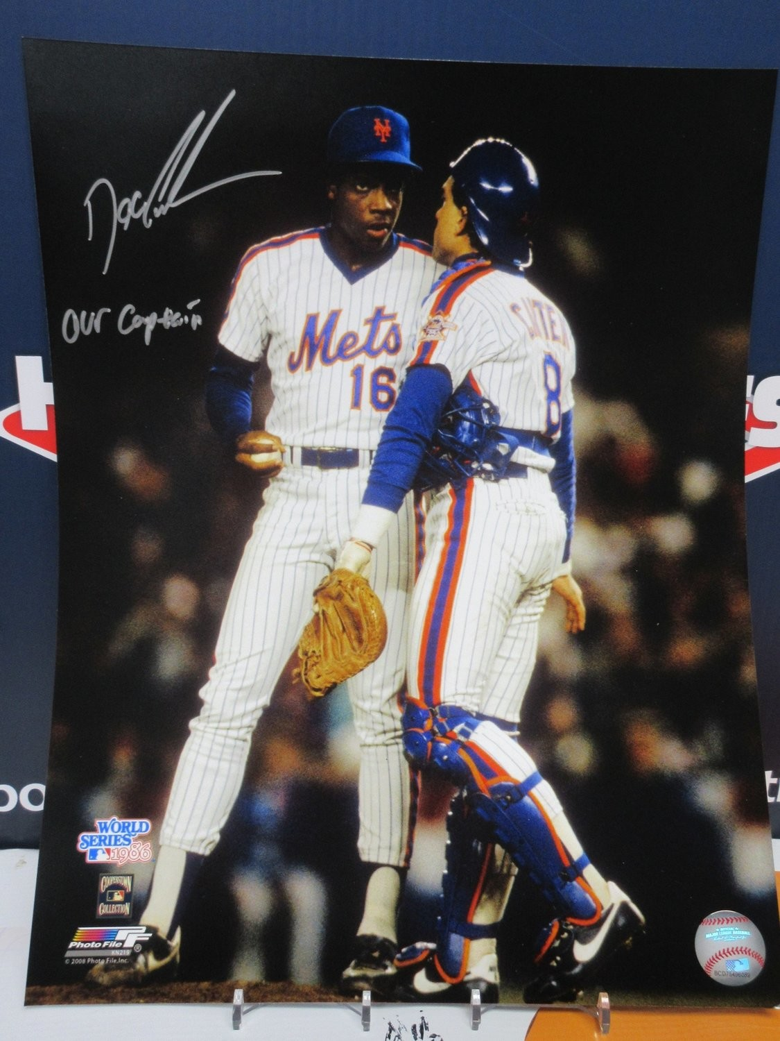 super popular bd766 206c3 DWIGHT DOC GOODEN SIGNED METS WITH CARTER INSC.