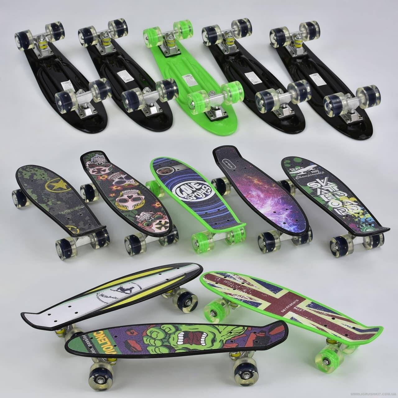S00167 Скейтборд подростковый пластиковый светящиеся колёса