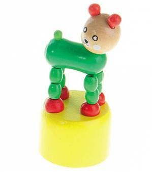 Игрушка деревянная ДЕРГУНЧИК ЗВЕРУШКА Рыжий кот ИД-1321