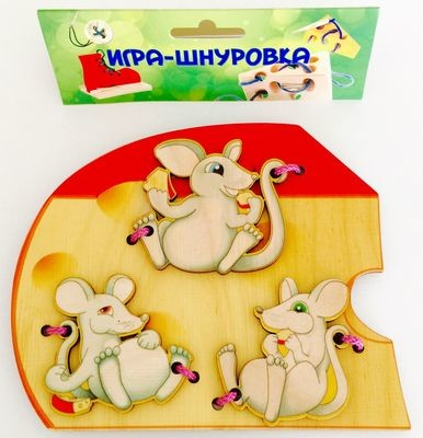 Шнуровка деревянная Мышки Бэмби 7795