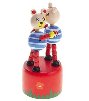 Деревянная игрушка Дергунчик Два медведя Рыжий кот ИД-1310