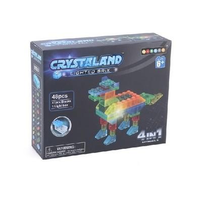 Светящийся конструктор ЖИВОТНЫЕ 4 в 1, 48 дет. Crystaland 99010