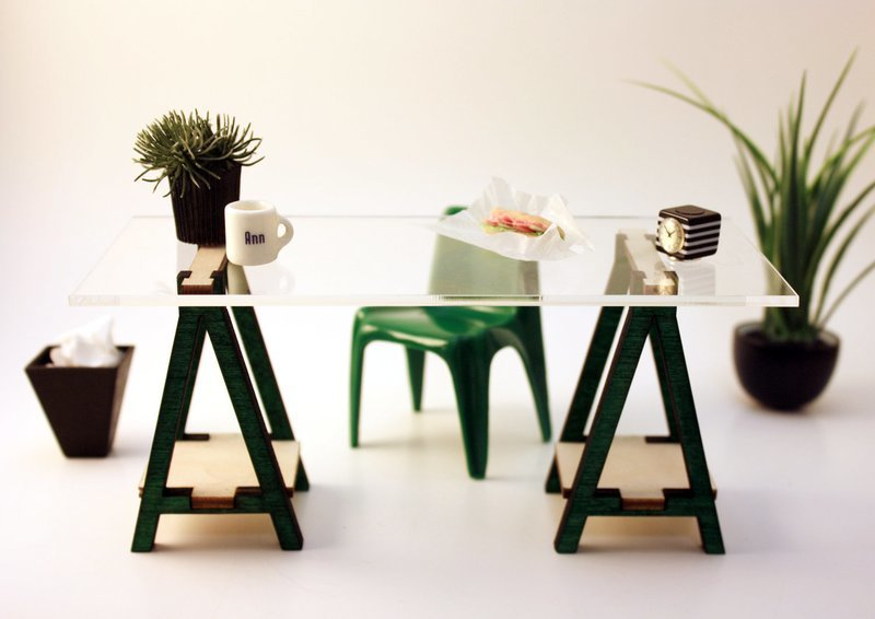 Miniature IKEA Inspired VIKA Desk Kit for 1:12 Scale Modern Dollhouse in Wood