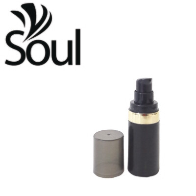 15ml - Round Plastic Black Bottle Goldline Airless Pump