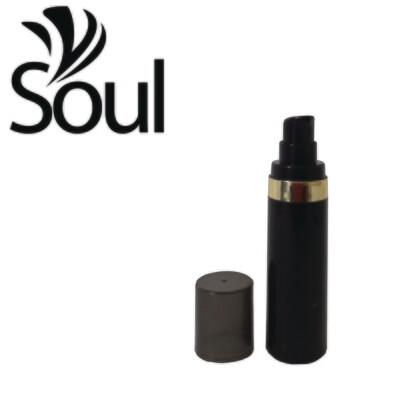 30ml - Round Plastic Black Bottle Goldline Airless Pump